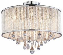 five light chrome clear crystals glass drum shade semi flush mount