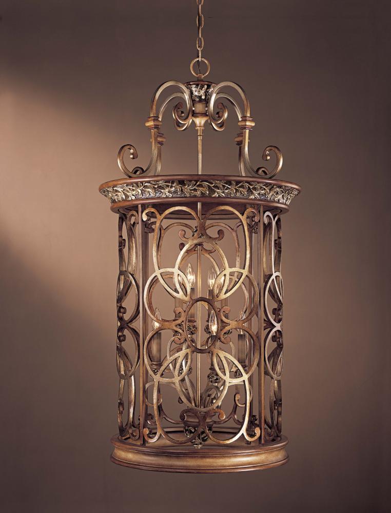 Eight Light Gold Open Frame Foyer Hall Fixture : 1564-477 | Lighting ...