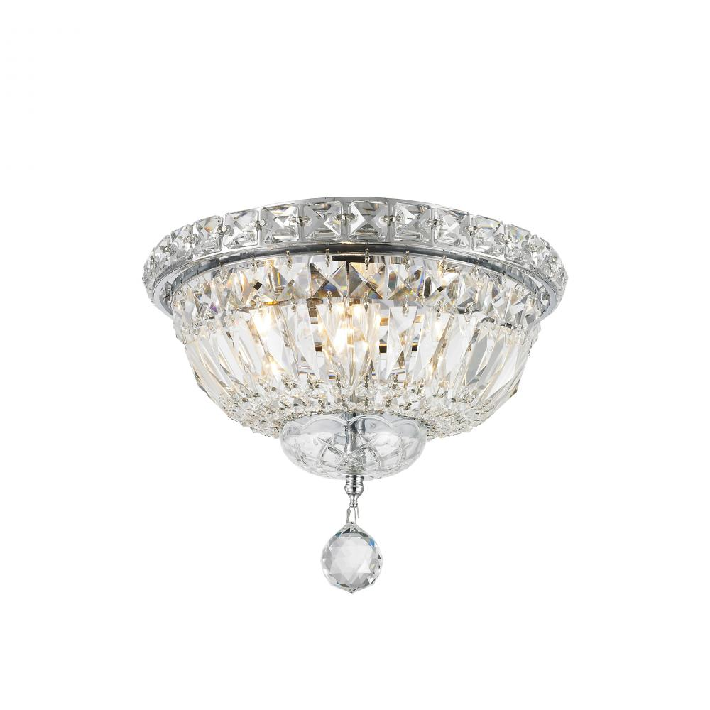 Empire Collection 4 Light Chrome Finish And Clear Crystal Flush Mount Ceiling 10 D