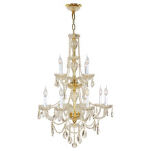 "Worldwide Lighting Corp W83098G28-GT - Provence Collection 12 Light Gold Finish and Golden Teak Crystal Chandelier 28"" D x 41"" H Tw"