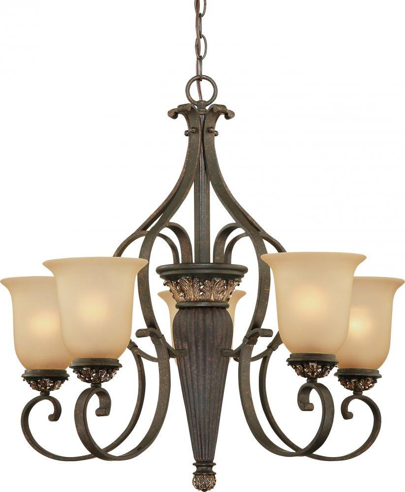 Bristol 5 Light Vintage Bronze With Antique Gold Chandelier