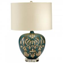 Cyan Designs 04476 - One Light Tan And Aqua Cream Woven And Gold Inside Shade Table Lamp