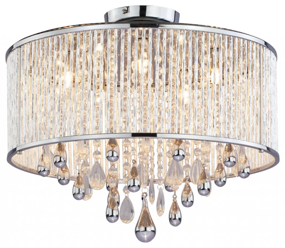 five light chrome clear crystals glass drum shade semi flush mount. Black Bedroom Furniture Sets. Home Design Ideas