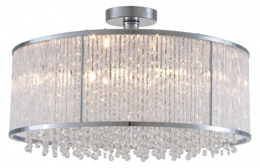 six light chrome clear crystals glass drum shade semi flush mount