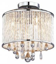 DVI DVP11011CH-CRY - Three Light Chrome Clear Crystals Glass Drum Shade Semi-Flush Mount