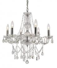 Trans Globe HU-6 PC - Six Light Polished Chrome Up Chandelier
