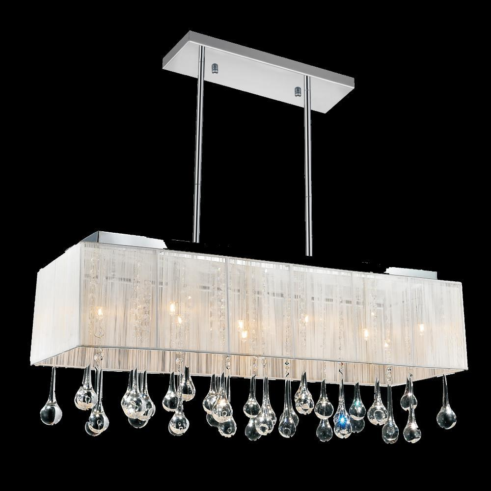 10 light chrome drum shade chandelier from our water drop collection