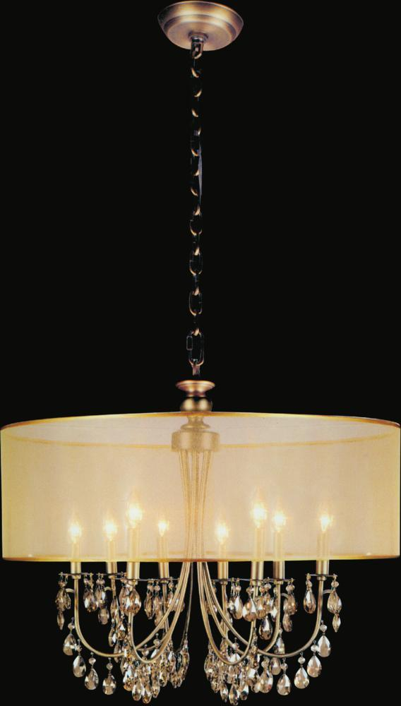 5 light french gold drum shade chandelier from our halo collection