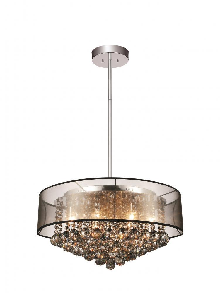 9 light drum shade chandelier with chrome finish 5062p20c smoke 9 light drum shade chandelier with chrome finish mozeypictures Choice Image