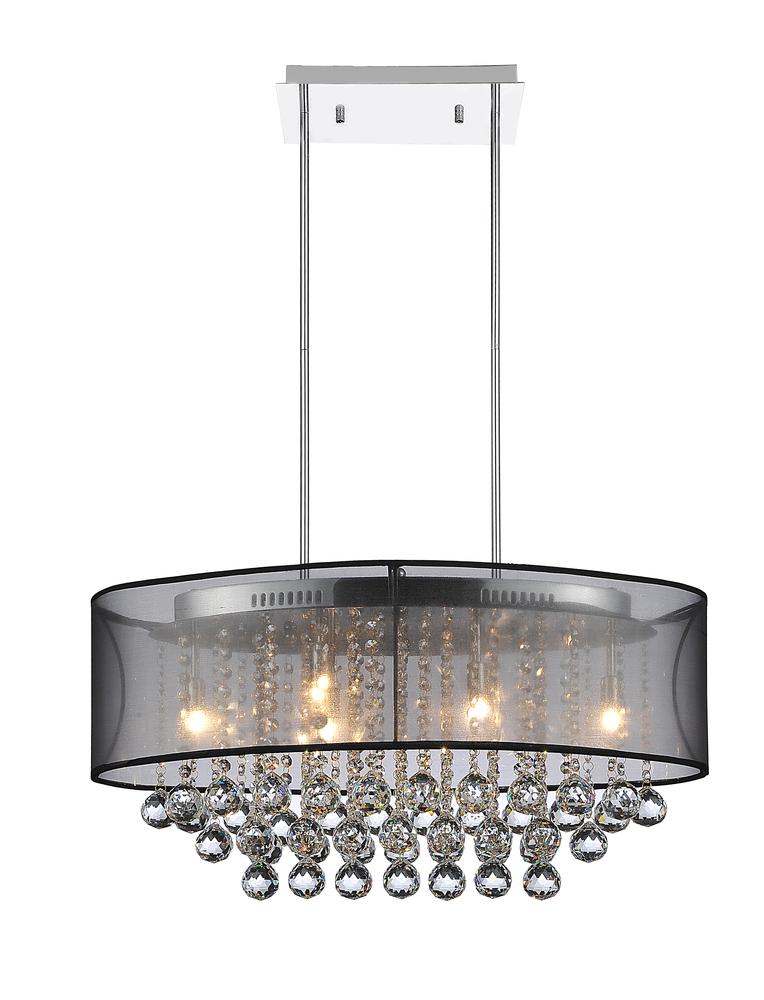 6 light drum shade chandelier with chrome finish 5063p26c clear 6 light drum shade chandelier with chrome finish aloadofball Images