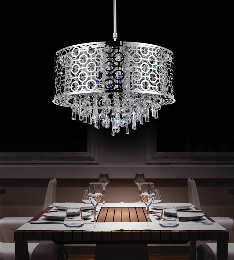 6 light chrome drum shade chandelier from our galant collection