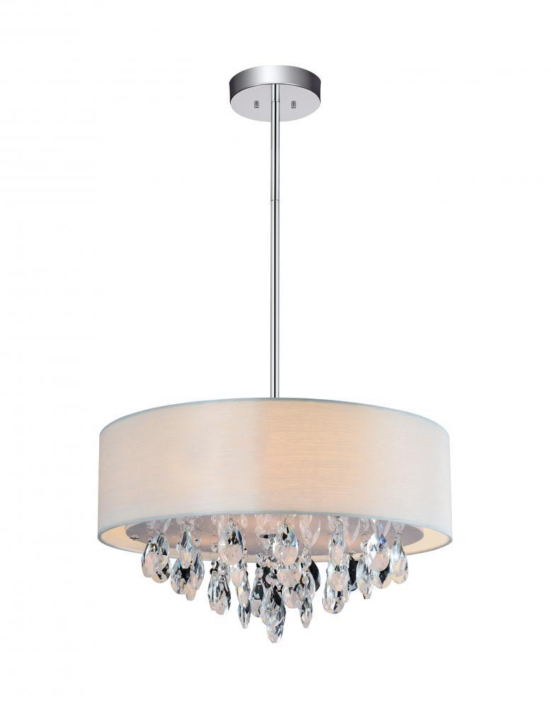 4 Light Chrome Drum Shade Chandelier from our Dash collection – White Drum Shade Chandelier