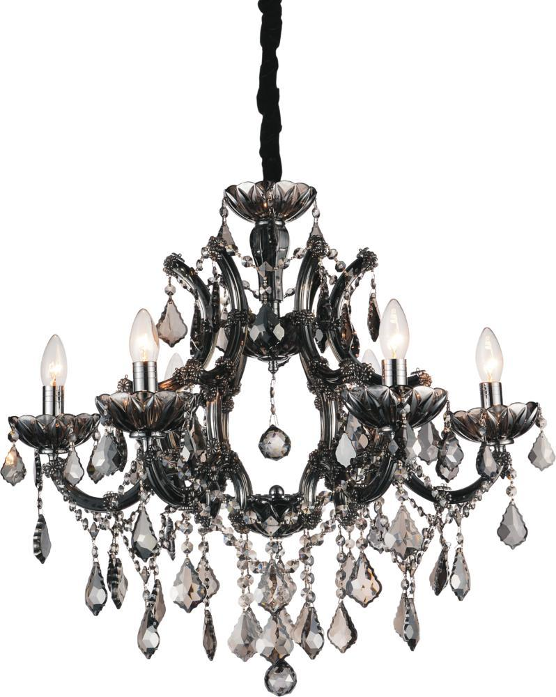 6 light up chandelier with chrome finish 8415p26c 6 smoke 6 light up chandelier with chrome finish aloadofball Image collections