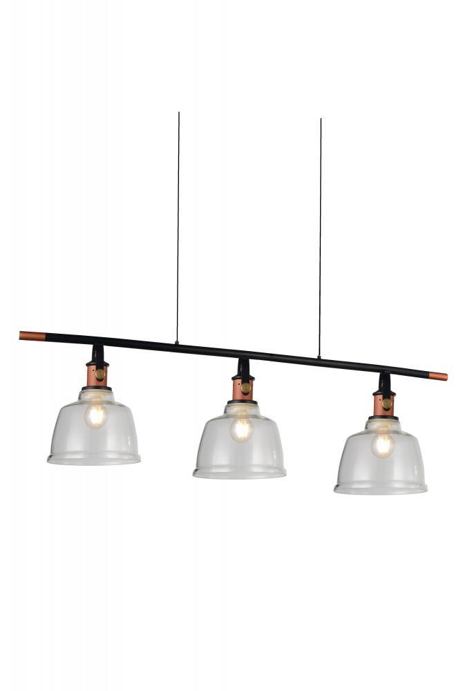3 Light Pool Table Light With Black U0026 Copper Finish