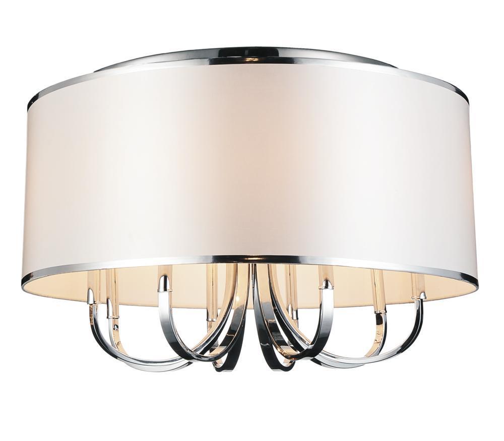 6 light drum shade flush mount with chrome finish 9848c24 6 601