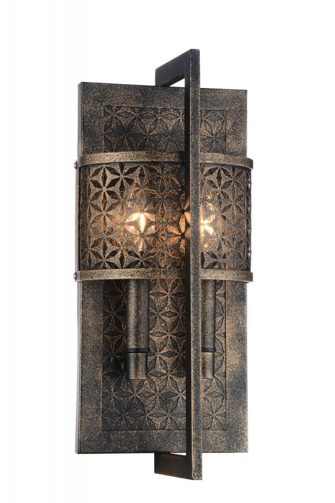 2 light wall sconce with golden bronze finish 9901w7 2 185 2 light wall sconce with golden bronze finish aloadofball Choice Image