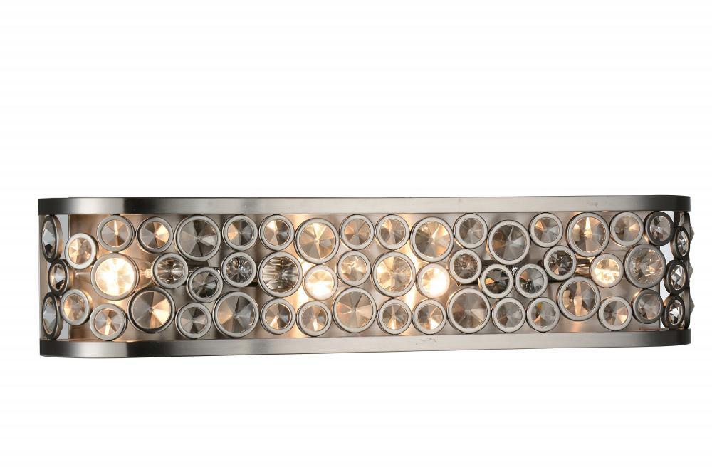 Light Wall Sconce With Satin Nickel Finish W - 4 light bathroom sconce