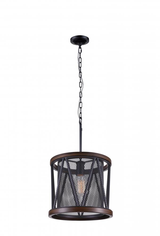 1 Light Drum Shade Mini Chandelier With Pewter Finish