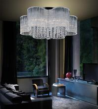 Crystal World 5319C24C - 9 Light Chrome Drum Shade Flush Mount from our Spring Morning collection