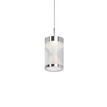 Kuzco Lighting Inc 402101CH-LED - Single LED Pendant Modern Clear Acrylic Cylinder with Interior Frosted Hourglass Design with Chrome