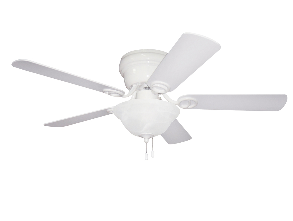 "Wyman with Bowl Light Kit 42"" Ceiling Fan with Blades and Light in White"