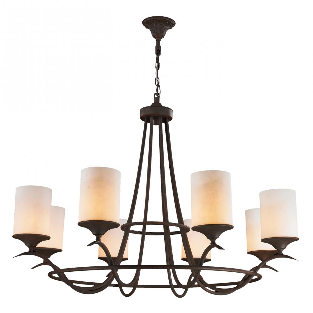 Pullman Collection 8 Light Flemish Brass Finish With Faux Alabaster Pillar Candle Chandelier 48