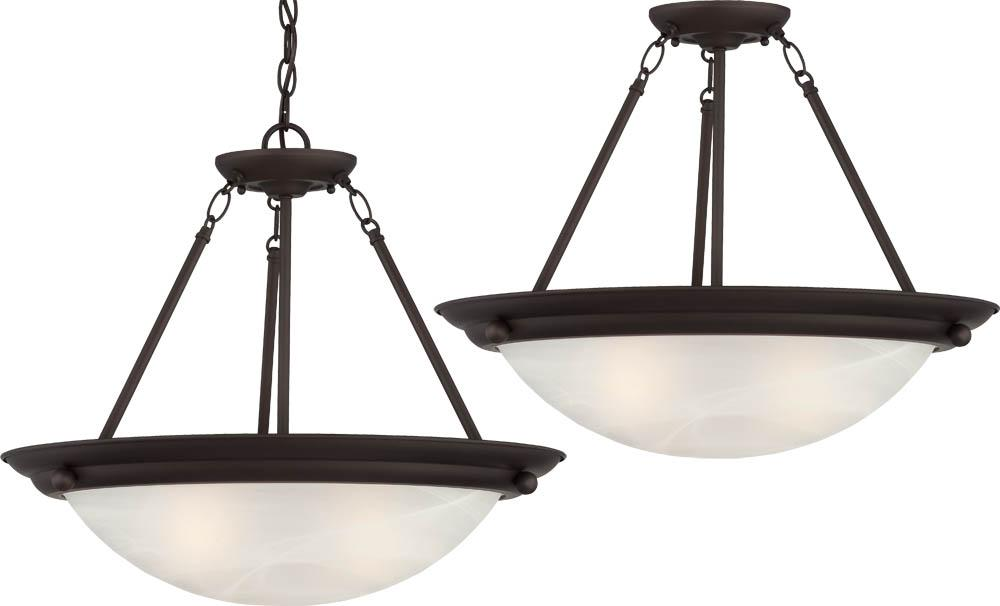 Lunar 3 Light Antique Bronze Pendant Or Semi Flush Ceiling Mount