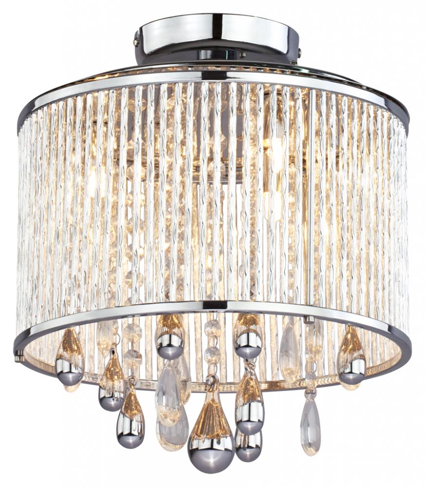 Three Light Chrome Clear Crystals Gl Drum Shade Semi Flush Mount