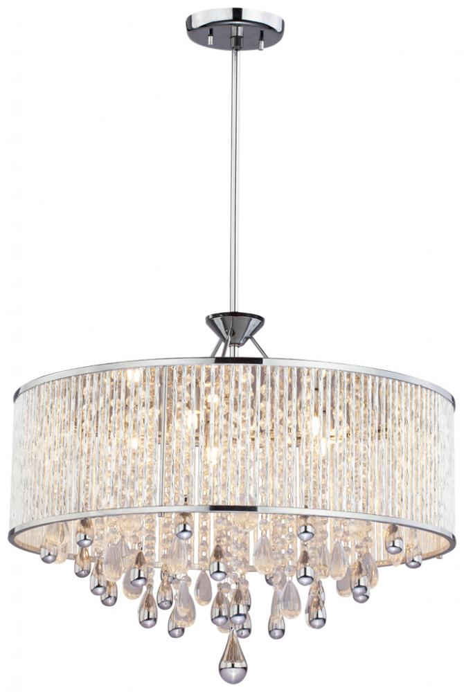 Five Light Chrome Clear Crystals Gl Drum Shade Pendant