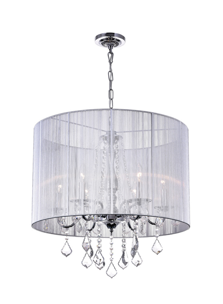 6 Light Drum Shade Chandelier With