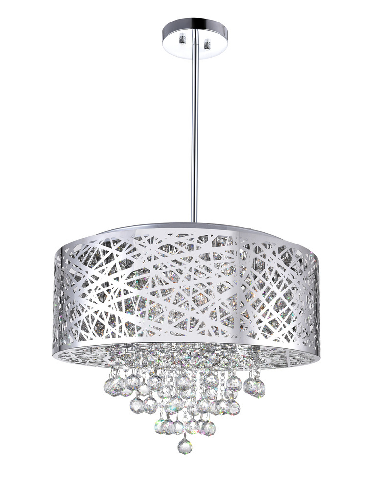 9 Light Drum Shade Chandelier With Chrome Finish 5008p22st