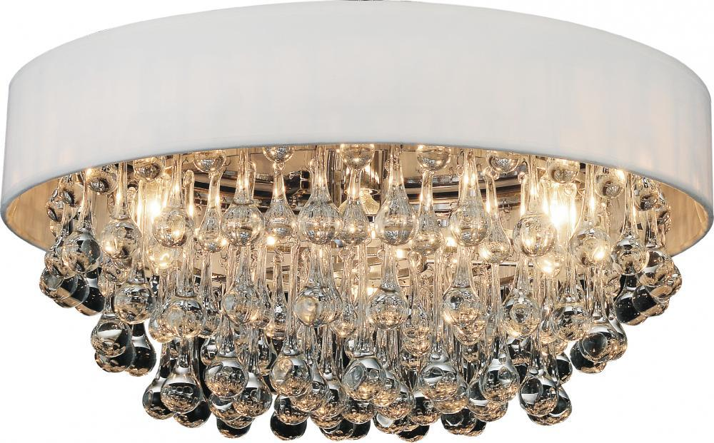 6 Light Drum Shade Flush Mount With