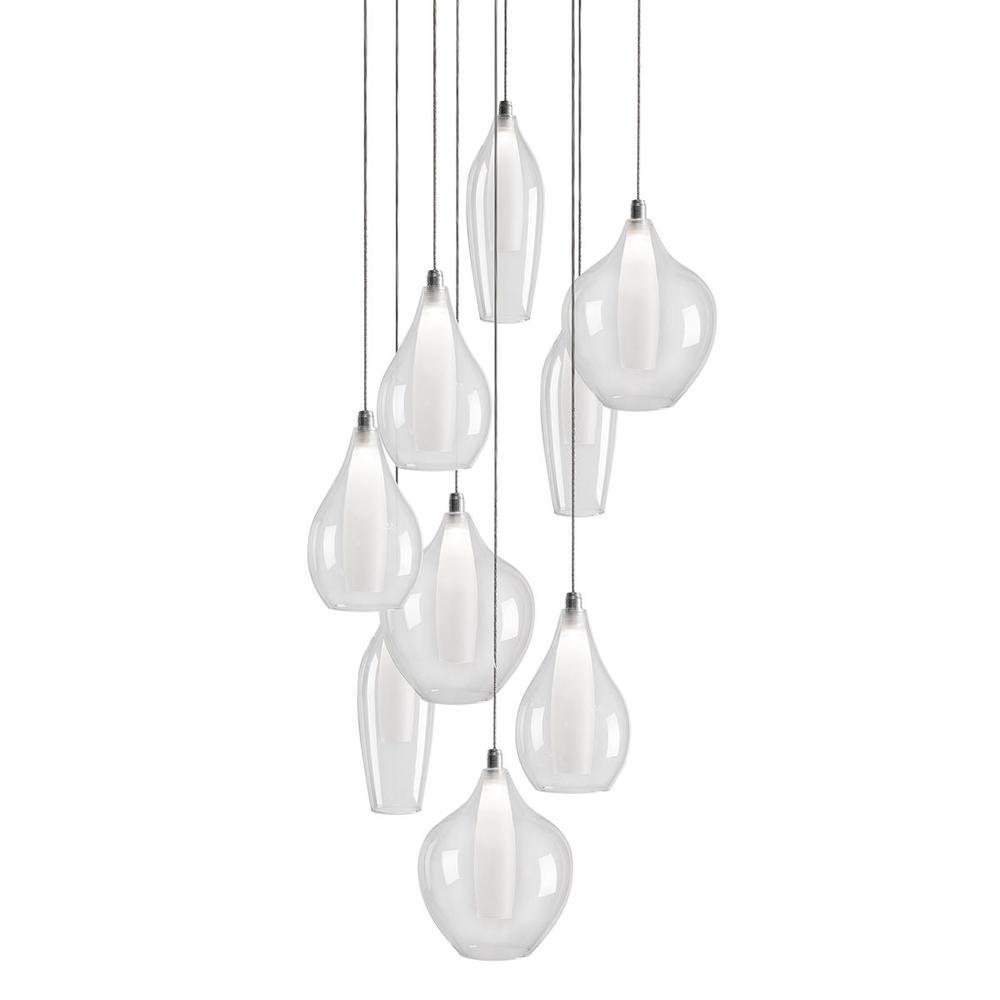 Round Nine Led Multi Pendant With Three Glass Styled Shades