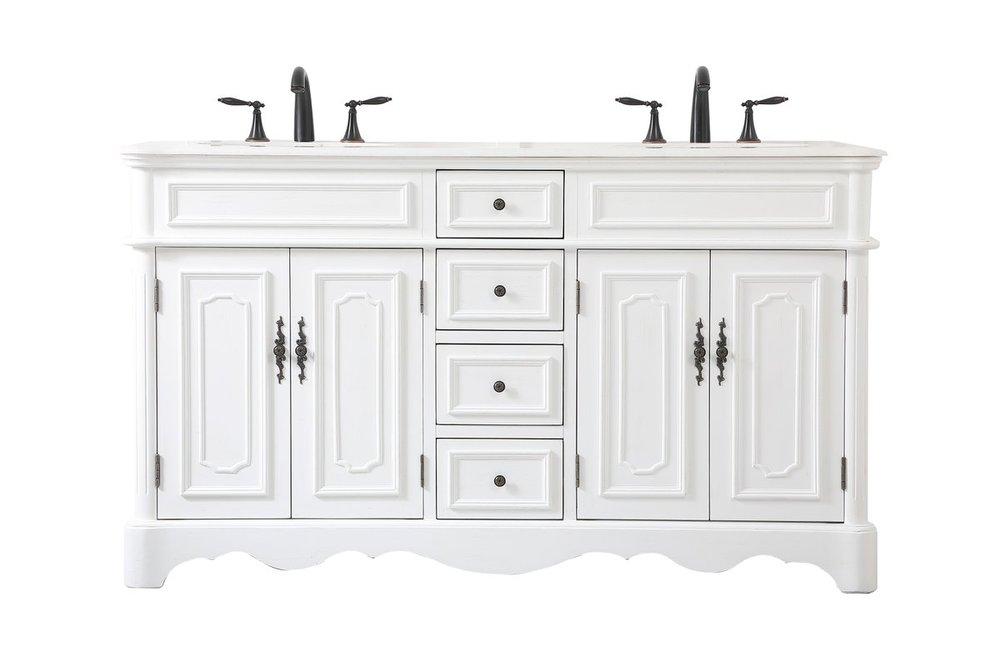 60 Inch Double Bathroom Vanity In, Antique White Bathroom Vanity Lights